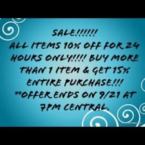 SALE!!!!! 10% OFF ALL PURCHASES FOR 24 HOURS!!